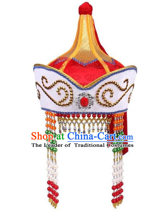 Traditional Handmade Chinese Mongol Nationality Dance Princess Hair Accessories Red Hat, China Mongols Mongolian Minority Nationality Bride Headpiece for Women