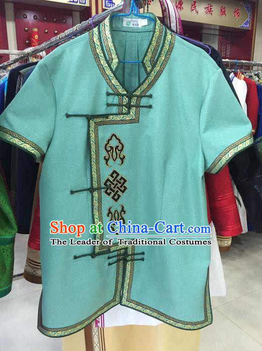 Traditional Chinese Mongol Nationality Dance Costume, Mongols Folk Dance Ethnic Blouse, Chinese Mongolian Minority Nationality Embroidery Shirt for Men