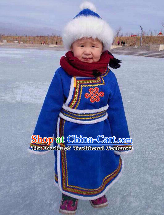 Traditional Chinese Mongol Nationality Dance Costume Blue Mongol Cotton Wadded Robes, Chinese Children Mongolian Minority Nationality Embroidery Clothing for Kids