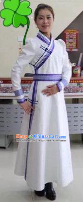 Traditional Chinese Mongol Nationality Dance Costume Female Mongol Robes, China Mongolian Minority Nationality Embroidery Dress Clothing for Women