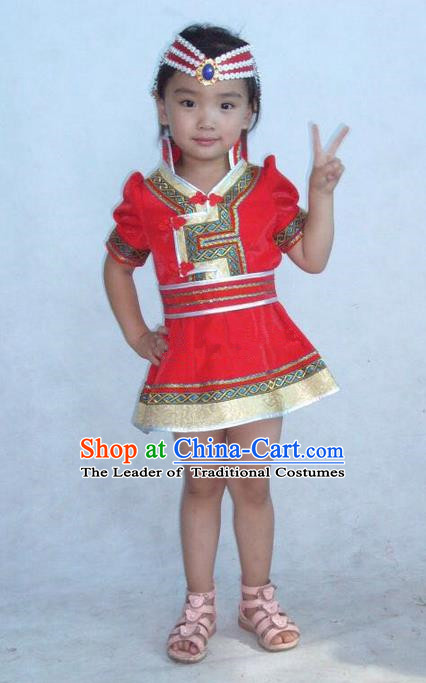 Traditional Chinese Mongol Nationality Dance Costume Children Red Mongol Coat, China Mongolian Minority Nationality Embroidery Dress Clothing for Kids