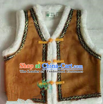 Traditional Chinese Mongol Nationality Dance Costume Children Brown Mongol Vest, China Mongolian Minority Nationality Waistcoat Clothing for Kids