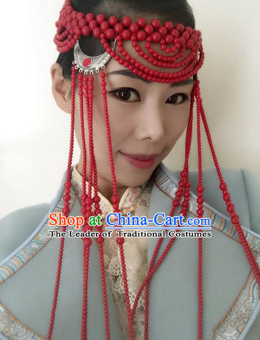Traditional Handmade Chinese Mongol Nationality Dance Tassel Hair Accessories Headwear, China Mongols Mongolian Minority Nationality Bride Beads Headpiece for Women