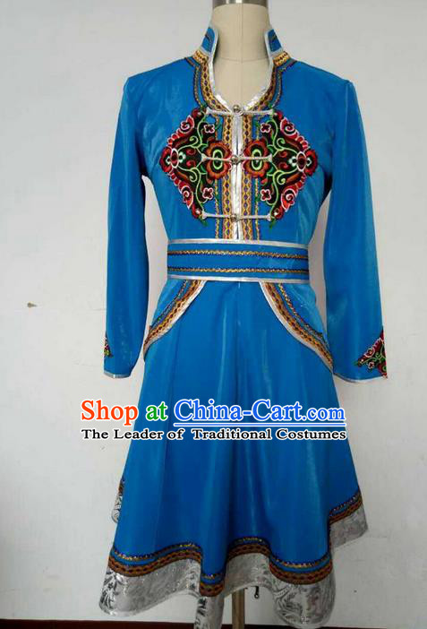 Traditional Chinese Mongol Nationality Dance Costume, China Mongolian Minority Nationality Blue Dress Clothing for Women