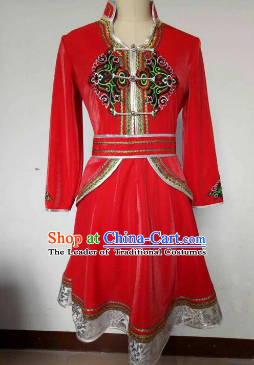 Traditional Chinese Mongol Nationality Dance Costume, China Mongolian Minority Nationality Red Dress Clothing for Women