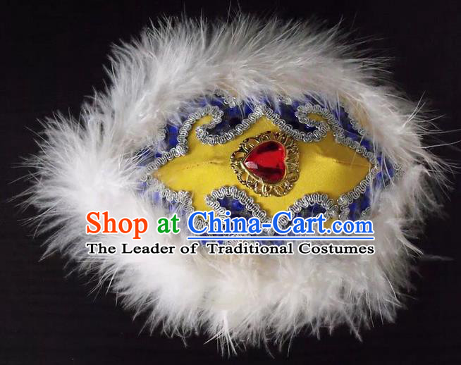 Traditional Handmade Chinese Mongol Nationality Dance Embroidery Hair Accessories Headwear, China Mongols Mongolian Minority Nationality Bride Headpiece for Women