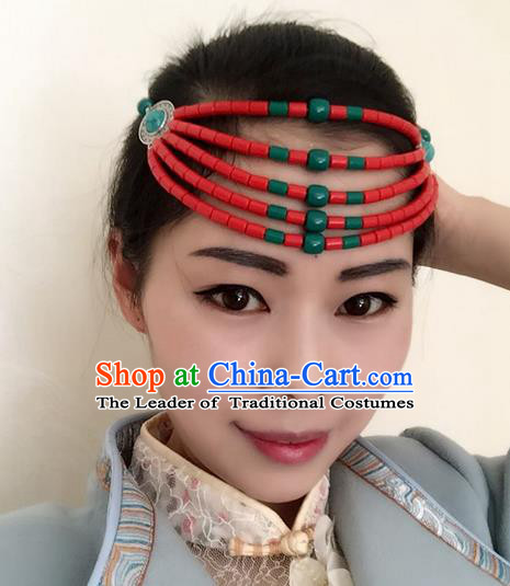 Traditional Handmade Chinese Mongol Nationality Dance Red Beads Hair Accessories Headwear, China Mongols Mongolian Minority Nationality Bride Headpiece for Women