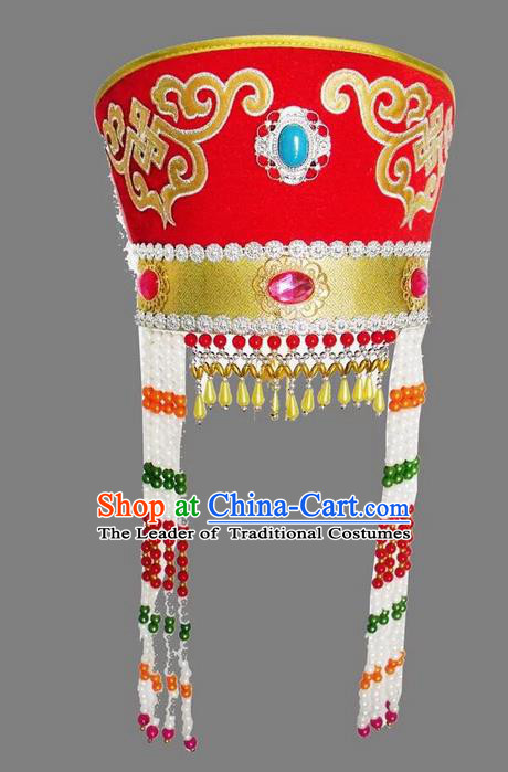 Traditional Handmade Chinese Mongol Nationality Dance Red Headwear Princess Hat, China Mongols Mongolian Minority Nationality Bride Headpiece for Women