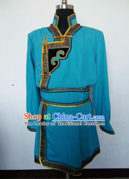 Traditional Chinese Mongol Nationality Dance Costume Handmade Blue Mongolian Robe, China Mongolian Minority Nationality Clothing for Men
