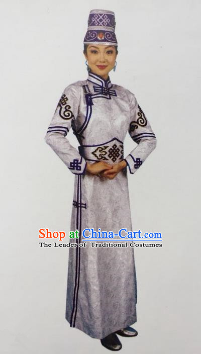 Traditional Chinese Mongol Nationality Dance Costume Handmade Mongolian Robe, China Mongolian Minority Nationality Dress Clothing for Women