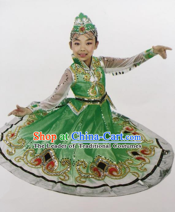 Traditional Chinese Mongol Nationality Dance Costume Green Mongolian Robe, China Mongolian Minority Nationality Dress Clothing for Kids