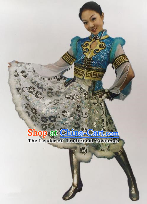 Traditional Chinese Mongol Nationality Dance Costume Blue Mongolian Robe, China Mongolian Minority Nationality Princess Dress Clothing for Women