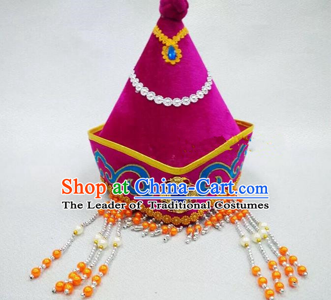 Traditional Handmade Chinese Mongol Nationality Dance Purple Headwear Princess Hat, China Mongols Children Mongolian Minority Nationality Headpiece for Kids