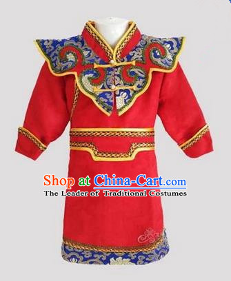 Traditional Chinese Mongol Nationality Dance Costume Handmade Red Mongolian Robe, China Mongolian Minority Nationality Children Clothing