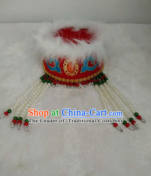 Traditional Handmade Chinese Mongol Nationality Dance Headwear Red Princess Rosy Hat, China Mongolian Minority Nationality Children Bride Headpiece for Kids