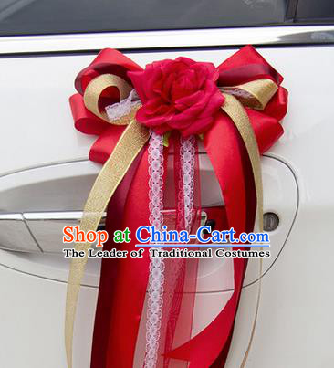 Top Grade Wedding Accessories Decoration, China Style Wedding Car Ornament Bowknot Flowers Bride Red Silk Ribbon Garlands