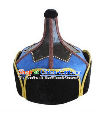 Traditional Handmade Chinese Mongol Nationality Dance Headwear Blue Suede Fabric Hat, China Mongolian Minority Nationality Prince Headpiece for Men