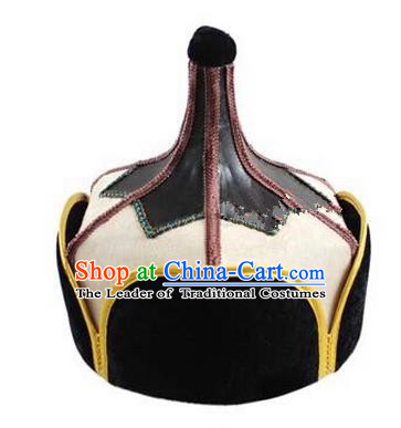 Traditional Handmade Chinese Mongol Nationality Dance Headwear Beige Suede Fabric Hat, China Mongolian Minority Nationality Prince Headpiece for Men