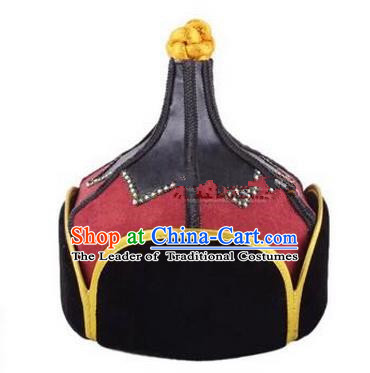 Traditional Handmade Chinese Mongol Nationality Dance Headwear Red Suede Fabric Hat, China Mongolian Minority Nationality Prince Headpiece for Men