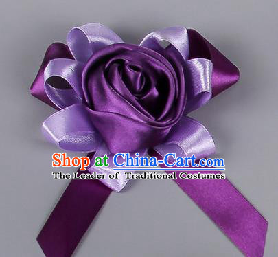 Top Grade Wedding Accessories Decoration Corsage, China Style Wedding Car Ornament Rose Flowers Bride Bridegroom Purple Ribbon Brooch