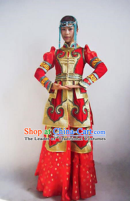 Traditional Chinese Mongol Nationality Dance Costume Handmade Queen Mongolian Robe, China Mongolian Minority Nationality Bride Wedding Red Dress Clothing for Women