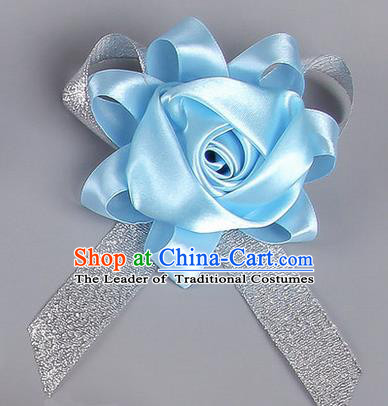 Top Grade Wedding Accessories Decoration Corsage, China Style Wedding Car Ornament Rose Flowers Bride Bridegroom Blue Ribbon Brooch