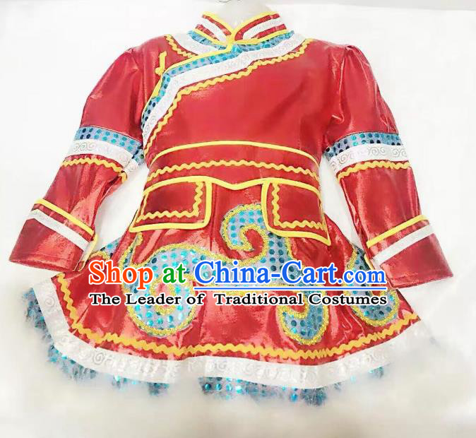 Traditional Chinese Mongol Nationality Dance Costume Handmade Embroidery Red Mongolian Robe, China Mongolian Minority Nationality Dress for Kids