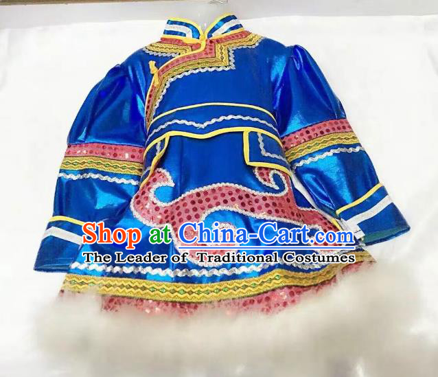 Traditional Chinese Mongol Nationality Dance Costume Handmade Embroidery Blue Mongolian Robe, China Mongolian Minority Nationality Dress for Kids