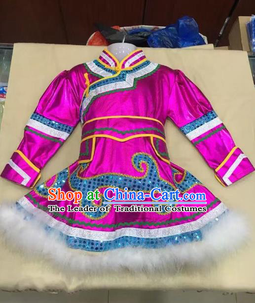 Traditional Chinese Mongol Nationality Dance Costume Handmade Embroidery Rosy Mongolian Robe, China Mongolian Minority Nationality Dress for Kids