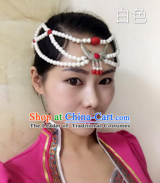 Traditional Handmade Chinese Mongol Nationality Handmade Sliver White Beads Headband, China Mongols Mongolian Minority Nationality Wedding Bride Tassel Headwear Headpiece for Women