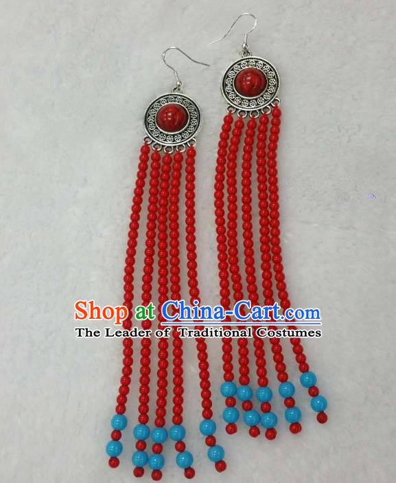Traditional Handmade Chinese Mongol Nationality Handmade Beads Tassel Earrings, China Mongols Mongolian Minority Nationality Wedding Eardrop for Women
