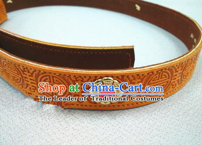 Traditional Handmade Chinese Mongol Nationality Handmade Leather Belt, China Mongols Mongolian Minority Nationality Waistband for Women