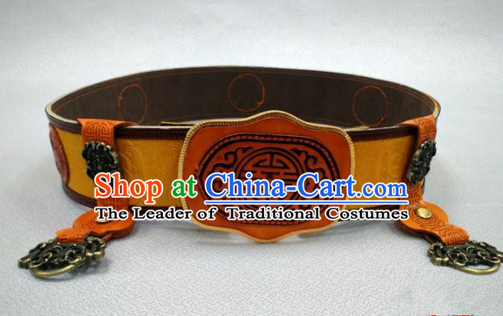 Traditional Handmade Chinese Mongol Nationality Handmade Leather Belts, China Mongols Mongolian Minority Nationality Waistband for Men