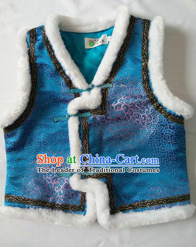 Traditional Chinese Mongol Nationality Dance Costume Handmade Blue Mongolian Vest, China Mongolian Minority Nationality Waistcoat Clothing for Kids