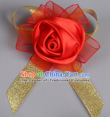 Top Grade Wedding Accessories Decoration Corsage, China Style Wedding Car Ornament Red Rose Flowers Bride Bridegroom Ribbon Brooch