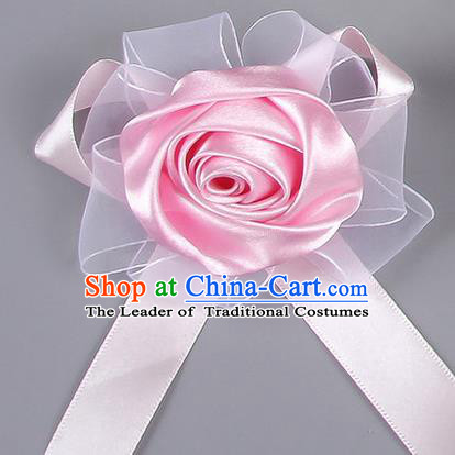 Top Grade Wedding Accessories Decoration Corsage, China Style Wedding Car Ornament Pink Rose Flowers Bride Bridegroom Ribbon Brooch