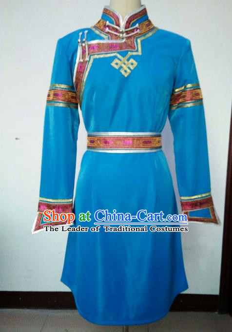Traditional Chinese Mongol Nationality Dance Costume Handmade Blue Mongolian Robe, China Mongolian Minority Nationality Princess Dress Clothing for Women