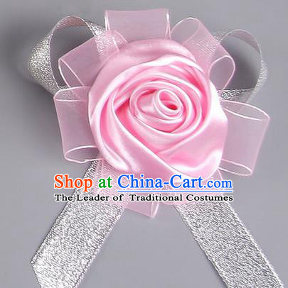 Top Grade Wedding Accessories Decoration Corsage, China Style Wedding Ornament Champagne Pink Rose Flowers Bride Bridegroom Sliver Ribbon Brooch