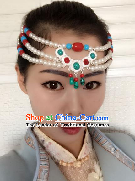 Traditional Handmade Chinese Mongol Nationality Dance Headwear Tassel Headband, China Mongolian Minority Nationality Pearls Hair Accessories Headpiece for Women