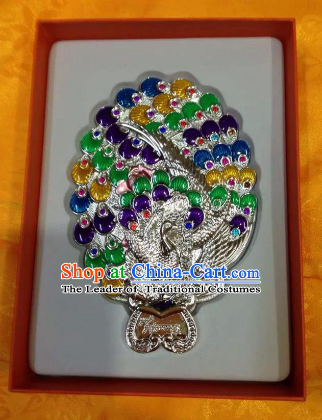 Traditional Handmade Chinese Mongol Nationality Crafts Colorful Peacock Pocket Mirror, China Mongolian Minority Nationality Cloisonne Mirror for Women