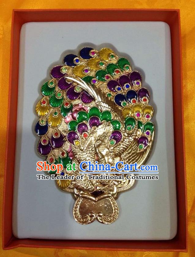Traditional Handmade Chinese Mongol Nationality Crafts Purple Peacock Pocket Mirror, China Mongolian Minority Nationality Cloisonne Mirror for Women