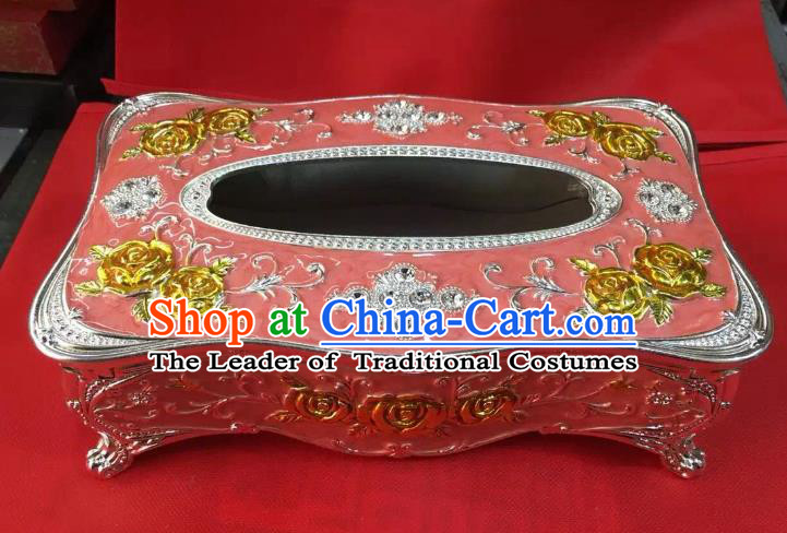 Traditional Handmade Chinese Mongol Nationality Crafts Pink Tissue Box, China Mongolian Minority Nationality Cloisonne Gilded Paper Holder