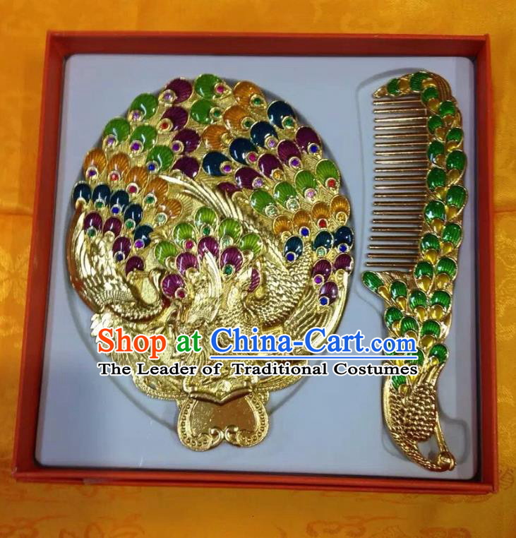 Traditional Handmade Chinese Mongol Nationality Crafts Comb and Peacock Pocket Mirror, China Mongolian Minority Nationality Cloisonne Mirror for Women