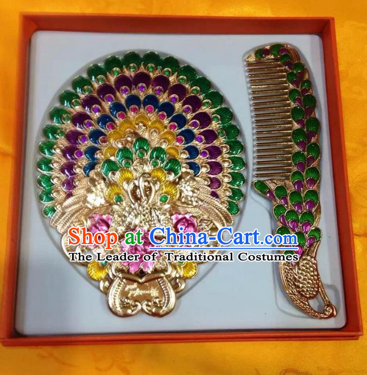 Traditional Handmade Chinese Mongol Nationality Crafts Hair Comb and Peacock Pocket Mirror, China Mongolian Minority Nationality Cloisonne Mirror for Women