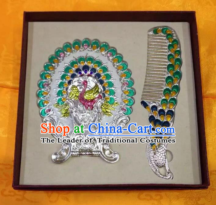 Traditional Handmade Chinese Mongol Nationality Crafts Light Green Hair Comb and Peacock Pocket Mirror, China Mongolian Minority Nationality Cloisonne Mirror for Women