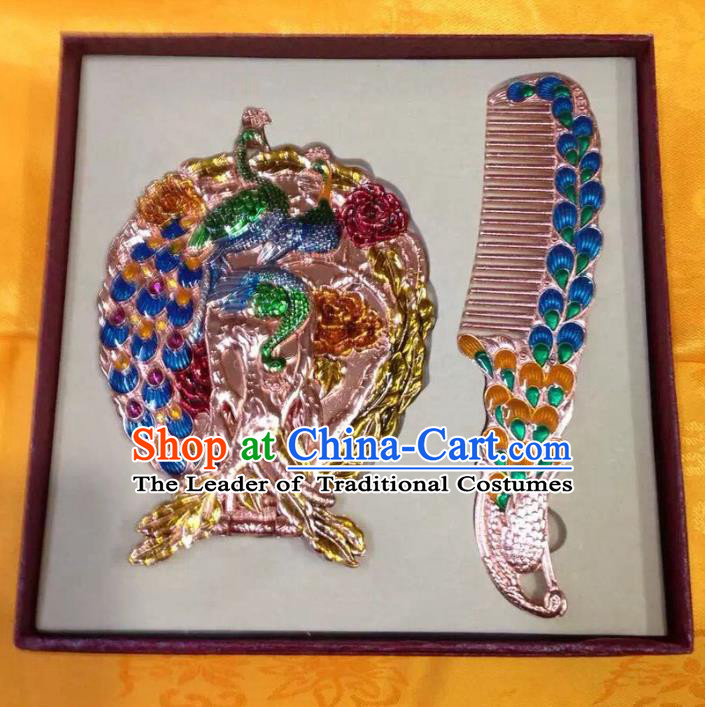 Traditional Handmade Chinese Mongol Nationality Crafts Blue Hair Comb and Peacock Pocket Mirror, China Mongolian Minority Nationality Cloisonne Mirror for Women