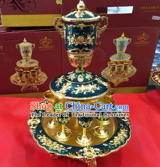 Traditional Handmade Chinese Mongol Nationality Crafts Green Wine Set, China Mongolian Minority Nationality Cloisonne Carving Flagon and Drinking Cup