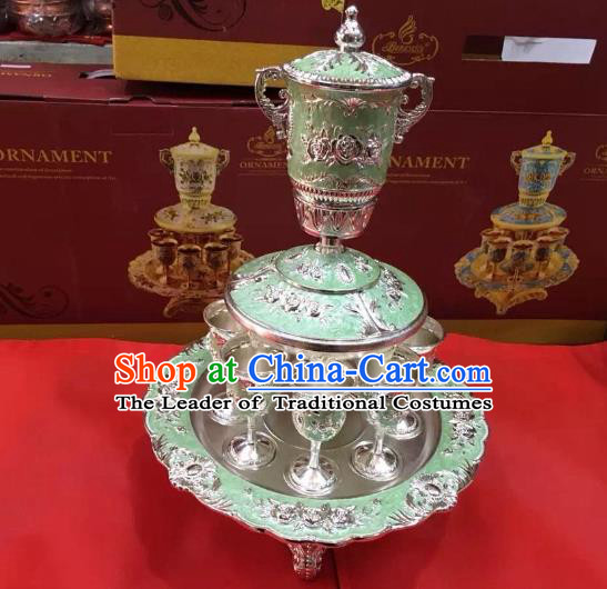 Traditional Handmade Chinese Mongol Nationality Crafts Light Green Wine Set, China Mongolian Minority Nationality Cloisonne Carving Flagon and Drinking Cup