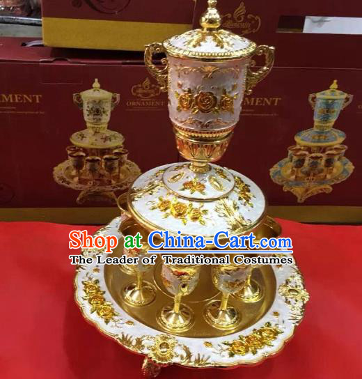Traditional Handmade Chinese Mongol Nationality Crafts White Wine Set, China Mongolian Minority Nationality Cloisonne Carving Flagon and Drinking Cup