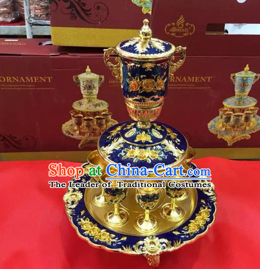 Traditional Handmade Chinese Mongol Nationality Crafts Blue Wine Set, China Mongolian Minority Nationality Cloisonne Carving Flagon and Drinking Cup